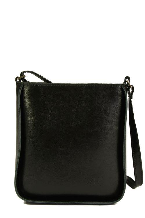 Czarna torebka listonoszka ze skóry