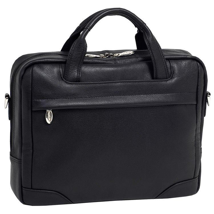 Torba na ramię Bronzeville Black 15,6″ torba na laptopa skórzana