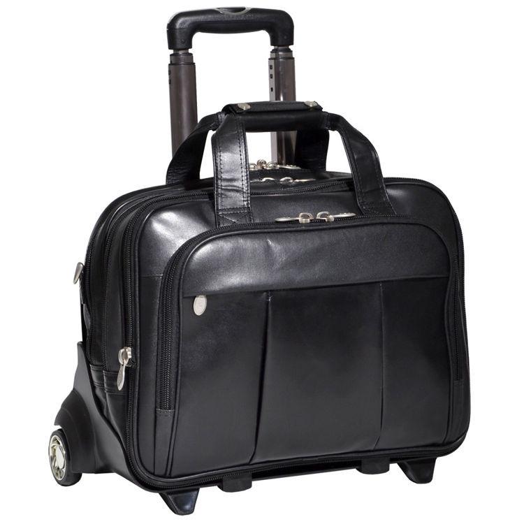 Skórzana torba podróżna z odpinanym wózkiem na laptopa Damen 17″