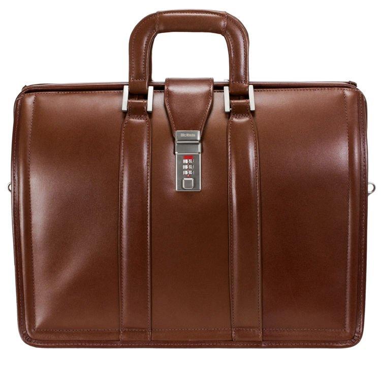 Brązowa biznesowa teczka, torba na laptopa Morgan 17″