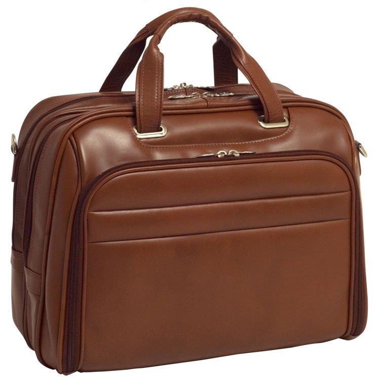 Biznesowa męska torba skórzana na laptopa Springfield 17″ kolor brązowy