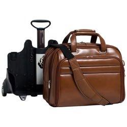 Skórzana brązowa torba podróżna na laptopa Midway 17″