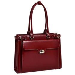 Skórzana torba damska na komputer laptop czerwona Winnetka 15,6″