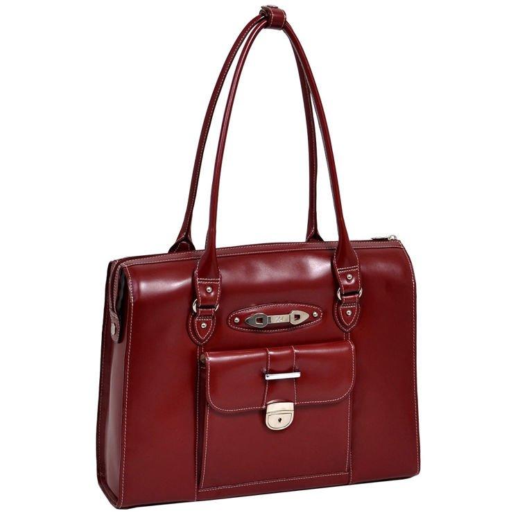 Skórzana czerwona torebka damska naramienna na laptopa River Forest 15,6″