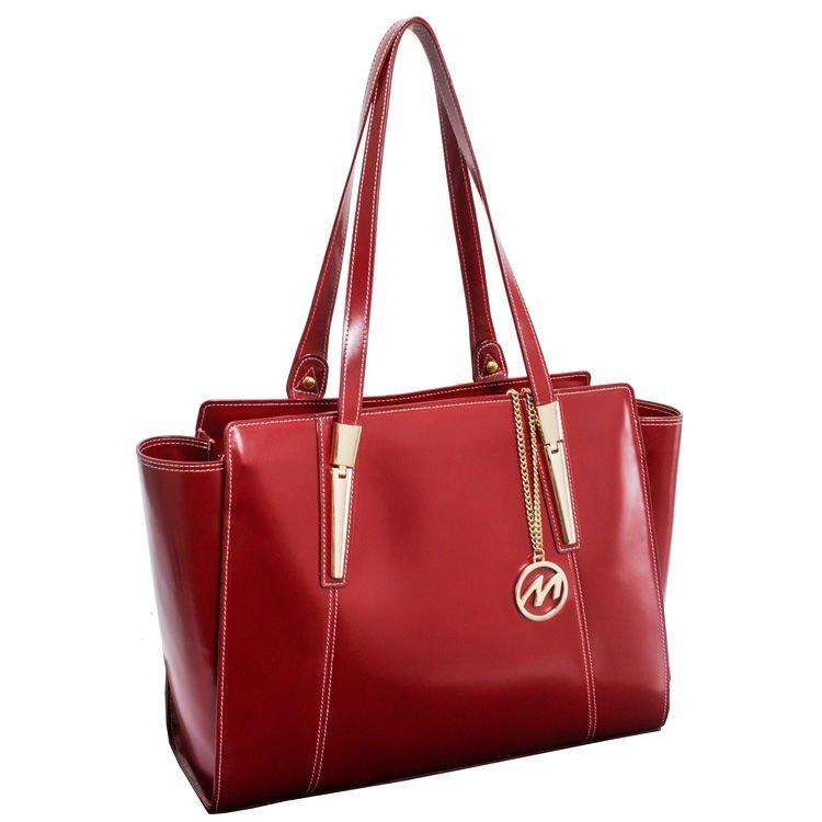 Skórzana torba damska Aldora z naturalnej skóry w kolorze czerwonym
