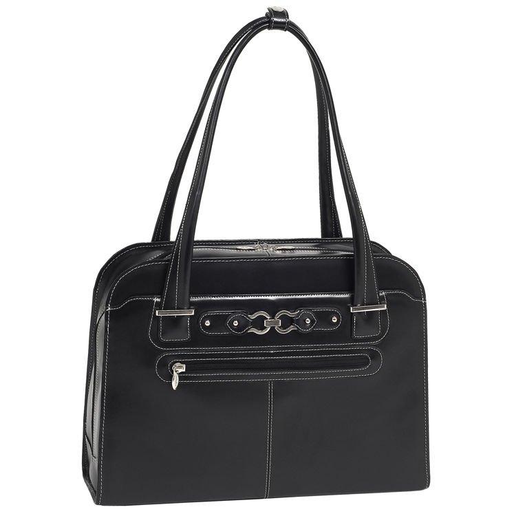 Skórzana czarna torba naramienna na laptopa Oak Grove 15,6″