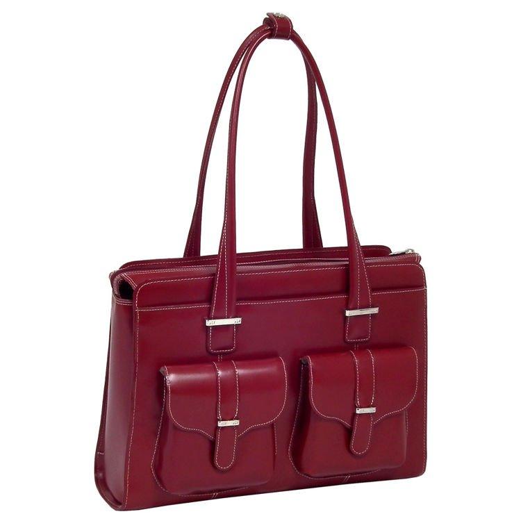 Skórzana czerwona torba damska Alexis z klamrą na laptopa ze skóry naturalnej 15,6″