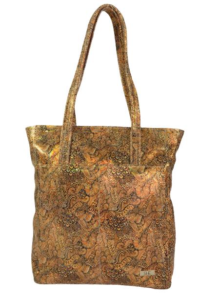 Złota torebka shopperka