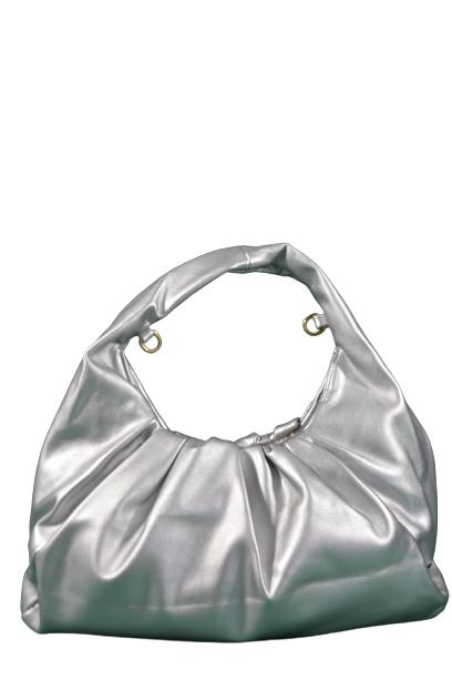 Srebrna marszczona torebka z ekoskóry