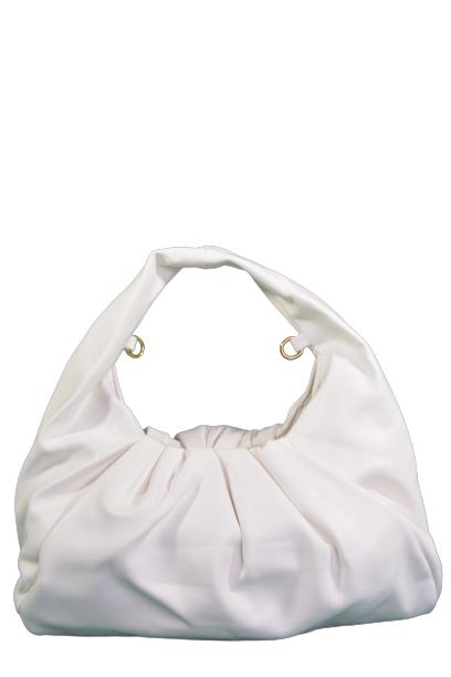 Biała marszczona torebka z ekoskóry